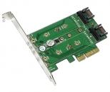 Addonics  M2 PCIe NGFF SSD + 2 M2 SATA NGFF SSD扩展转接卡 ,PCIe 3.0 X4插槽