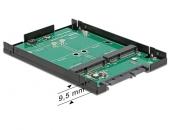 Delock 62594 2 x mSATA SSD固态硬盘转2.5″ SATA硬盘转接适配器 支持RAID1