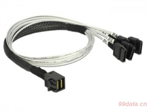 DELOCK 83392 Mini SAS HD SFF-8643 转 4 x SATA 0.5 m转接线