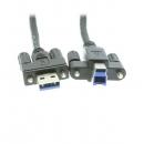 Coolgear 工业级USB3.0 HUB数据线1.5米A转B带螺丝孔螺钉固定Screw Lock